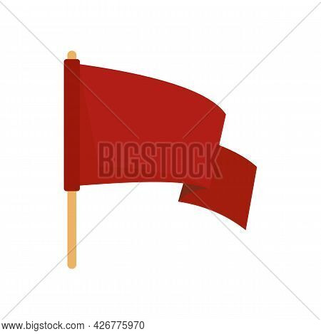 Red Protest Flag Icon. Flat Illustration Of Red Protest Flag Vector Icon Isolated On White Backgroun