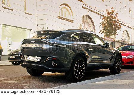 Kiev, Ukraine - May 22, 2021: Aston Martin Dbx Luxury Super Suv. Luxury British Suv In The City