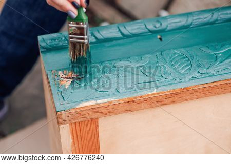 Macro Brush With Blue Or Green Paint Updates Old Wooden Furniture For Reuse And Environmental Care
