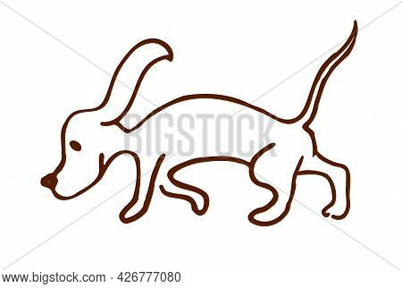 A Beagle Dog, Drawn By Lyne In The Doodle Style, Isolated On A White Background.