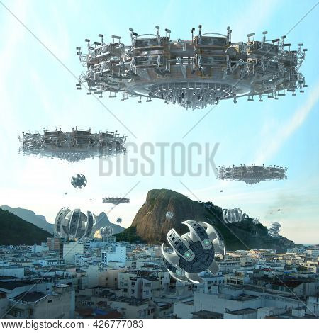 3d Illustration Of Alien Spaceships With A Swarming Drone Fleet Over A City, For Futuristic Interste