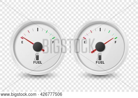 Vector 3d Realistic White Circle Gas Fuel Tank Gauge, Oil Level Bar Icon Set Isolated. Full And Empt