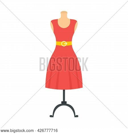 Woman Dress On Mannequin Icon. Flat Illustration Of Woman Dress On Mannequin Vector Icon Isolated On
