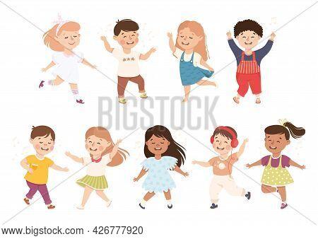 Energetic Children Dancing Moving To Music Rythm Vector Set