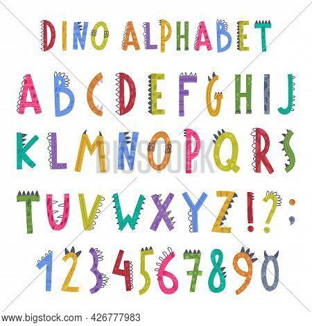 Dino Alphabet With Cute Abc Capital Letters Vector Set