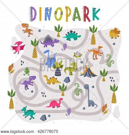 Dino Park Labyrinth Or Maze Game With Funny Dinosaurs And Twisted Path Vector Set