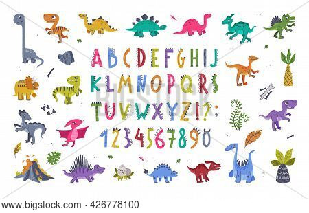 Funny Dinosaurs Prehistoric Creature And Comic Dino Alphabet Letters Vector Set