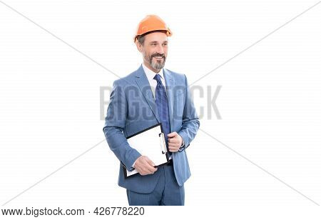Entrepreneur With Project. Ceo With Construction Documents. Mature Boss With Clipboard.