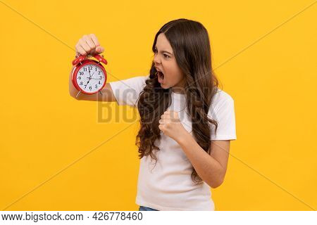Annoying Sound. Angry Teen Girl Checking Time. Do Not Be Late. Punctual Kid With Clock.