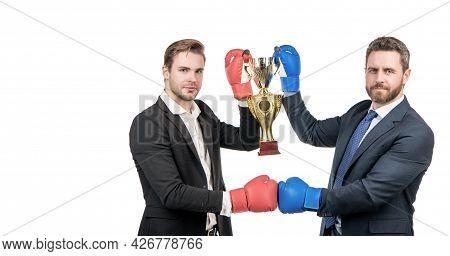 Celebrating Success. Trophy And Prestige. Got Prize. Winning Deal. Businessmen In Boxing Gloves
