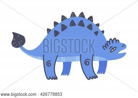 Funny Blue Spiked Dinosaur As Cute Prehistoric Creature And Comic Jurassic Predator Vector Illustrat