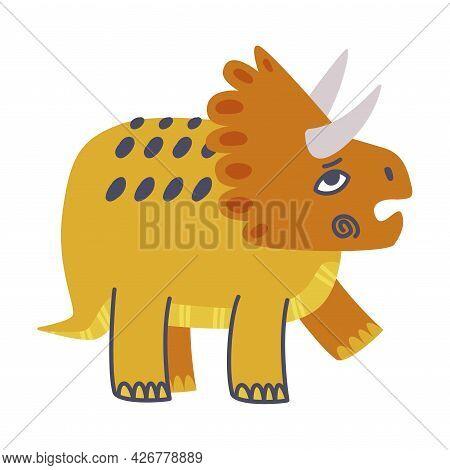 Funny Horned Dinosaur As Cute Prehistoric Creature And Comic Jurassic Predator Vector Illustration
