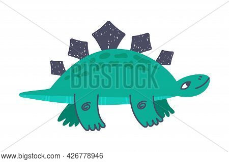 Funny Spiked Dinosaur As Cute Prehistoric Creature And Comic Jurassic Predator Vector Illustration