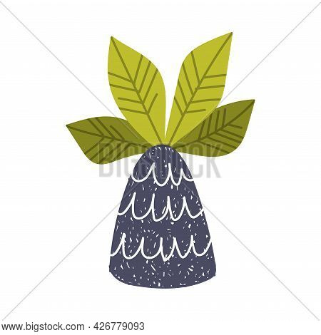 Simple Doodle Palm Tree With Trunk And Leaf Vector Illustration
