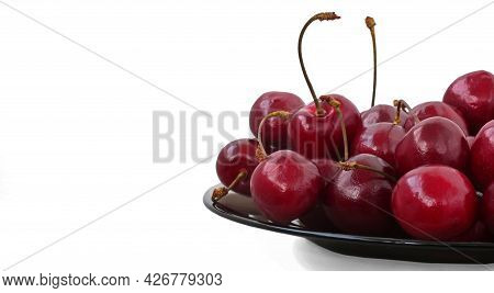 Ripe Sweet Cherries On A Plate, Sweet Cherries Isolated On White Background