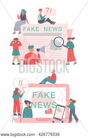People Disseminating Fake News On Internet And Press Set, Mass Media Propaganda, Untruth Information