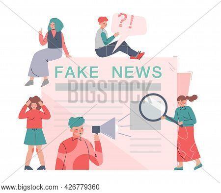 People Disseminating Fake News In Press, Mass Media Propaganda, Untruth Information Spread Cartoon V