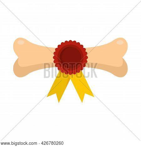 Dog Award Bone Icon. Flat Illustration Of Dog Award Bone Vector Icon Isolated On White Background