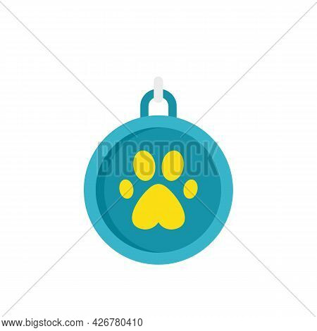 Dog Plastic Medal Icon. Flat Illustration Of Dog Plastic Medal Vector Icon Isolated On White Backgro