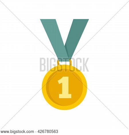 Dog Gold Medal Icon. Flat Illustration Of Dog Gold Medal Vector Icon Isolated On White Background