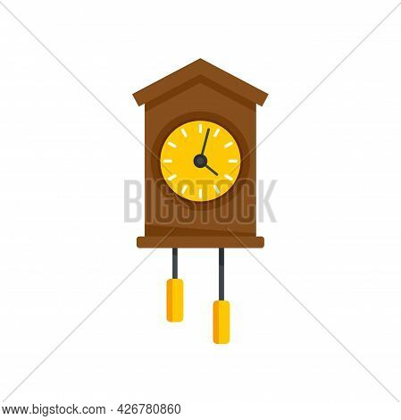 Swiss Wall Clock Icon. Flat Illustration Of Swiss Wall Clock Vector Icon Isolated On White Backgroun
