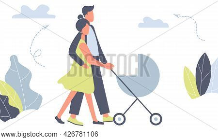 Happy Mother And Father On Walk With Newborn In Stroller. Parents Pushing Pram With Child In Park. Y