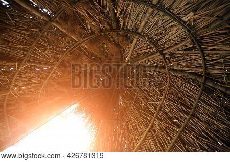 Reed Wigwam Hut. Dwelling Of Primitive People.