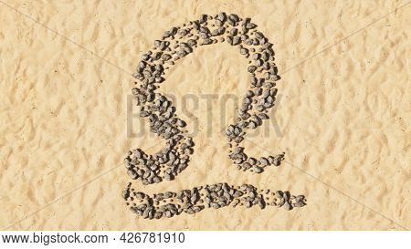 Concept conceptual stones on beach sand handmade symbol shape, golden sandy background, libra zodiac sign. 3d illustration symbol for  esoteric, the mystic, the power of prediction of astrology