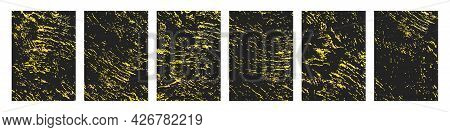 Grunge Golden Backdrop Set Of Grungy Gold Vector Pattern, Old Lyxury Grain Wall Material Overlay Bac