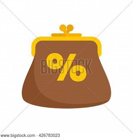 Percent Loyalty Wallet Icon. Flat Illustration Of Percent Loyalty Wallet Vector Icon Isolated On Whi