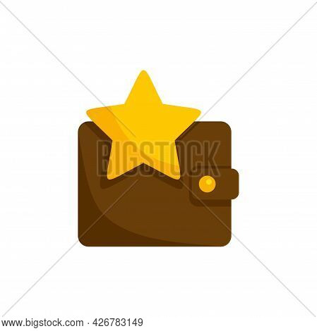 Star Leather Wallet Icon. Flat Illustration Of Star Leather Wallet Vector Icon Isolated On White Bac