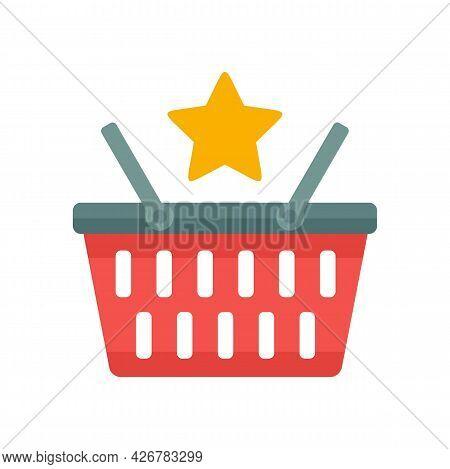 Loyalty Shop Basket Icon. Flat Illustration Of Loyalty Shop Basket Vector Icon Isolated On White Bac