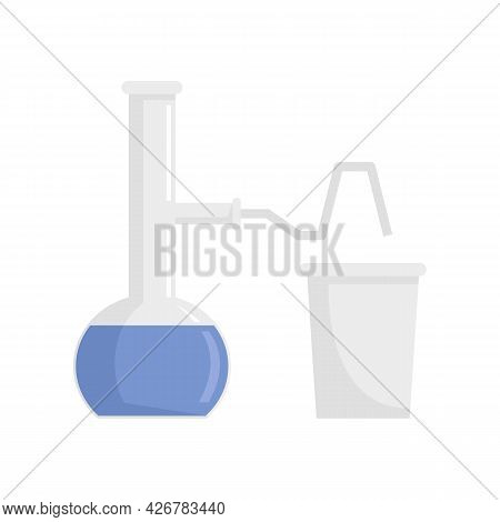 Pipe Flask Glass Lab Icon. Flat Illustration Of Pipe Flask Glass Lab Vector Icon Isolated On White B