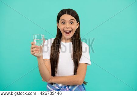 Surprised Girl Drink Glass Of Water To Stay Hydrated And Keep Daily Water Balance, Drink Water.