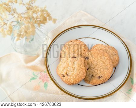 Homemade Chocolate Chip Cookies On A Fancy Plate.
