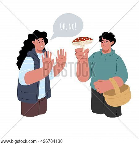 Concept Of Identify The Mushroom.the Guy Holds A Poisonous Mushroom, The Girl Is Shocked.vector Flat