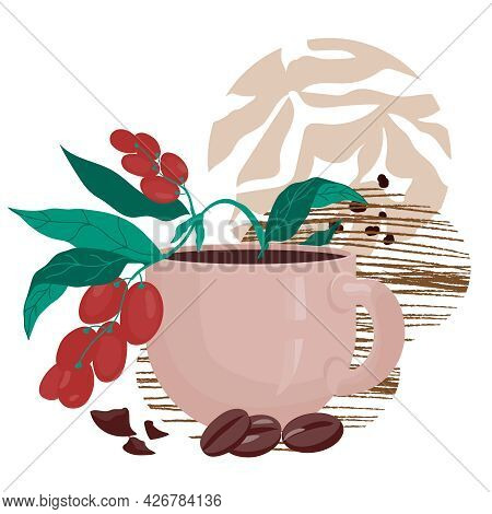 Banner, Flyer Or Card Template With Coffee Cup And Branch Of Coffee Tree, Flat Vector Illustration I