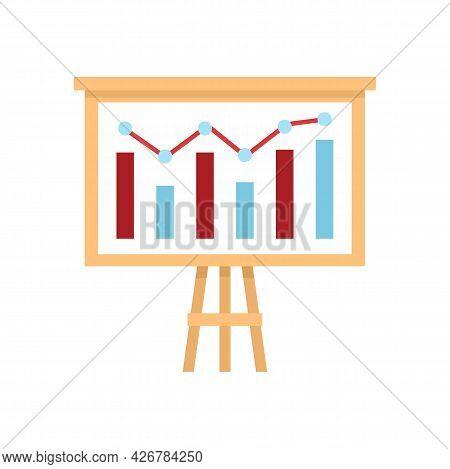 Graph Chart Banner Icon. Flat Illustration Of Graph Chart Banner Vector Icon Isolated On White Backg
