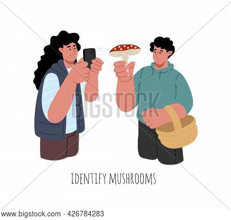 A Couple Of Man And Woman Trying To Identify The Type Of Mushrooms Through The App.vector Illustrati