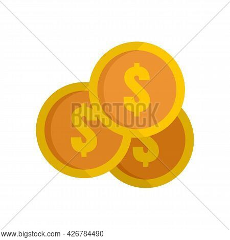 Coins Stack Icon. Flat Illustration Of Coins Stack Vector Icon Isolated On White Background