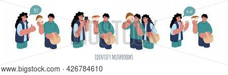 Concept Of Identify The Mushroom.a Couple Trying To Identify Mushroom Edibility With Mobile Phone.ve