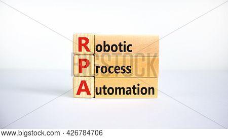 Rpa, Robotic Process Automation Symbol. Wooden Blocks With Words Rpa, Robotic Process Automation On
