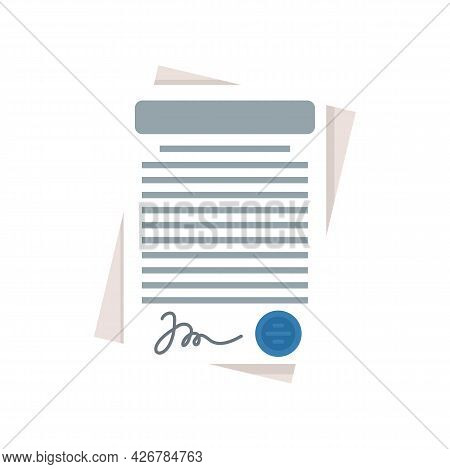 Customer Contract Icon. Flat Illustration Of Customer Contract Vector Icon Isolated On White Backgro