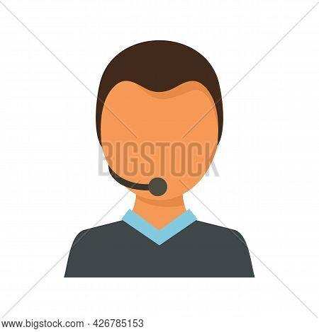 Customer Man Support Icon. Flat Illustration Of Customer Man Support Vector Icon Isolated On White B