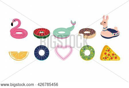 Set Of Colorful Inflatable Lifebuoys And Mattresses In The Form Of A Flamingo, Mermaid Tail, Llama,