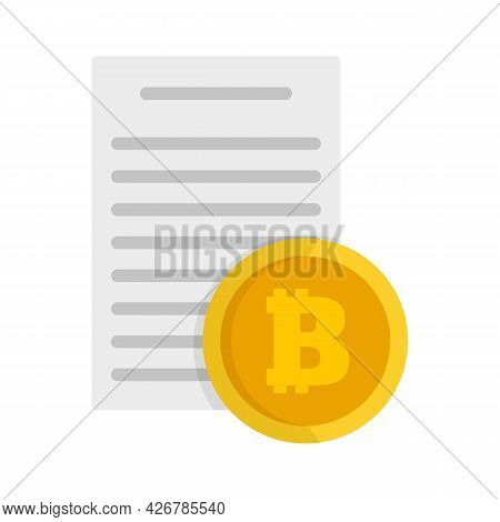 Bitcoin Paper Icon. Flat Illustration Of Bitcoin Paper Vector Icon Isolated On White Background