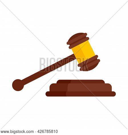 Judge Gavel Icon. Flat Illustration Of Judge Gavel Vector Icon Isolated On White Background