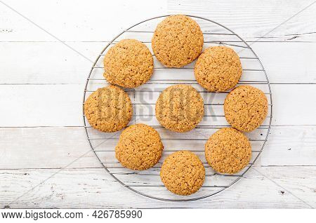 Fresh Homemade Hazelnut Cookies On A Cooling Rack.