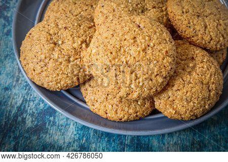 Fresh Homemade Hazelnut Cookies On A Blue Plate.