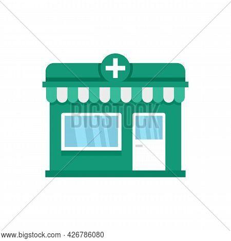 Street Pharmacy Shop Icon. Flat Illustration Of Street Pharmacy Shop Vector Icon Isolated On White B